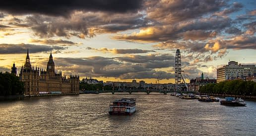 Floating down the Thames River in London